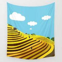vietnam Wall Tapestries featuring Vietnam rice terraces by Design4u Studio