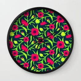 Floral pattern with red blooms Wall Clock