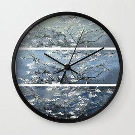 Vincent Van Gogh : Almond Blossoms Panel Art Blue Steel Teal Wall Clock