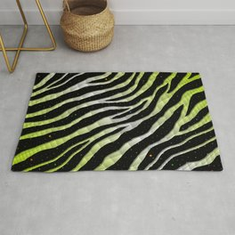 Ripped SpaceTime Stripes - Lime Yellow/White Rug