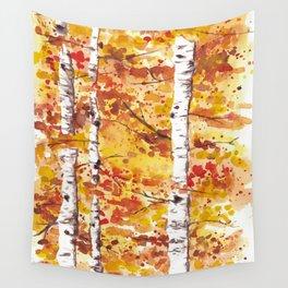 Fall Birch Trees Wall Tapestry