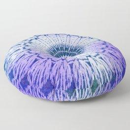 tie dye sunflower mandala in blues Floor Pillow