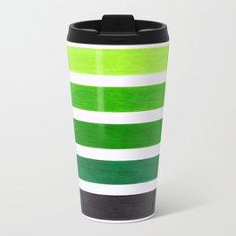 Colorful Green Stripes Travel Mug