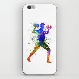 Man exercising weight training iPhone Skin