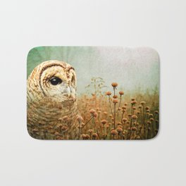 Barred Owl in Foggy Forest Bath Mat