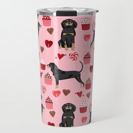 Coonhound love cupcakes hearts valentines day cute dog breed gifts for coonhounds Travel Mug