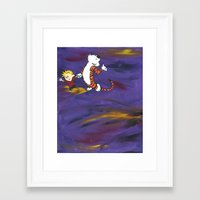 calvin hobbes Framed Art Prints featuring Calvin & Hobbes - Purple by Always Add Color