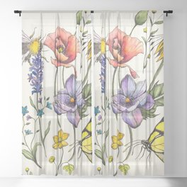 Bees & Flowers Watercolour Pattern Sheer Curtain