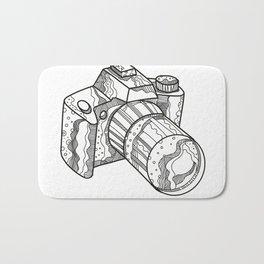 DSLR Camera Doodle Art Bath Mat