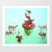 pixies Art Prints featuring Vintage pixies and deer by Vintage  Cuteness
