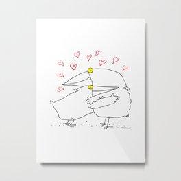 Bird Hug Metal Print
