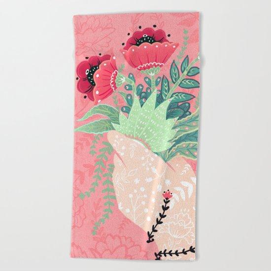Pink Bouquet Beach Towel