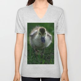 Cute Duckling Walking on a Lawn Unisex V-Neck