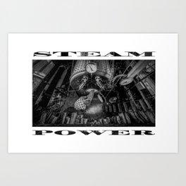 The Paddle Steamer Fireman (black & white poster edition) Art Print
