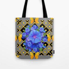 Golden Butterflies Blue Floral Grey Art Tote Bag