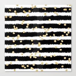 Modern black watercolor stripes chic gold confetti Canvas Print