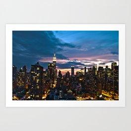 New York City By Night Art Print