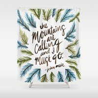 the mountains are calling Shower Curtains featuring Mountains Calling by Cat Coquillette