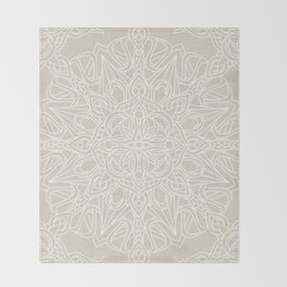White Lace Mandala on Antique Ivory Linen Background Throw Blanket