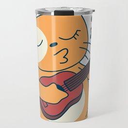 Cat with ukulele music Travel Mug