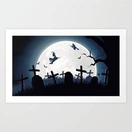 Creepy Halloween Witches On Broomsticks Flying Above Cemetery At Full Moon Ultra HD Art Print