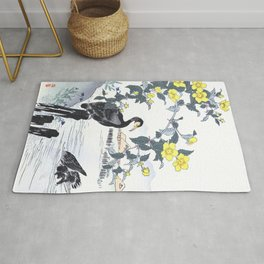 Two Cormorants And Yellow Flowers Near Lake - Antique Japanese Woodblock Print Art - Kono Bairei Rug