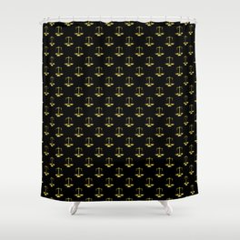 Gold Scales Of Justice on Black Repeat Pattern Shower Curtain