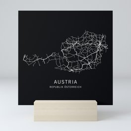 Austria Road Map Mini Art Print