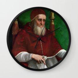 Raphael - Portrait of Pope Julius II Wall Clock