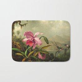 Orchids And Hummingbirds mountainous rainforest landscape painting by Martin Johnson Heade Bath Mat