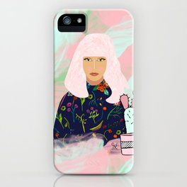 Pink Hair Don't Care I iPhone Case