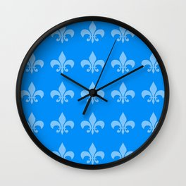 Fleur de lis blue mono chroma Wall Clock