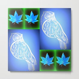 blue and green owl pattern Metal Print