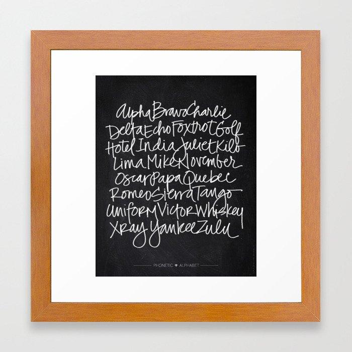 Chalkboard Art - Phonetic Alphabet Framed Art Print by baronartco ...
