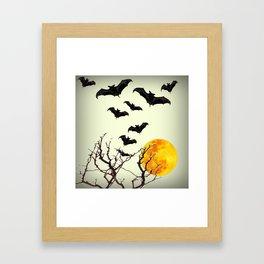 GOTHIC HALLOWEEN FULL MOON BLACK FLYING BATS DESIGN Framed Art Print