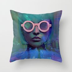 Pink Glasses girl Throw Pillow