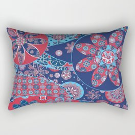 Dhalia Red and Blue Rectangular Pillow