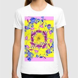 DECORATIVE PINK-YELLOW BLUE FLORALS T-shirt