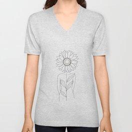 Minimalistic Line Art of Woman with Sunflower Unisex V-Neck