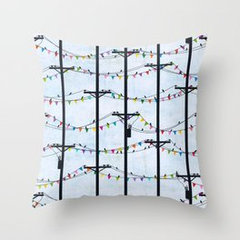 Telephone Poles - FLAGS Throw Pillow