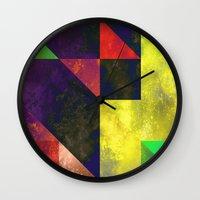 be happy Wall Clocks featuring Happy by SensualPatterns