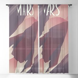 Mars Starship space art Sheer Curtain