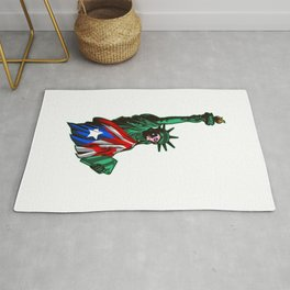 Proud To Be Puerto Rican American - Statue Of Liberty Rug