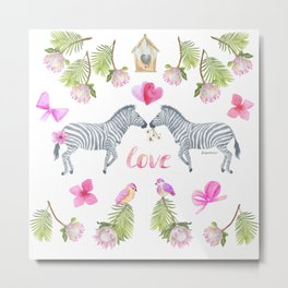 Groovy Kind Of Zebra Love - Bagaceous Metal Print