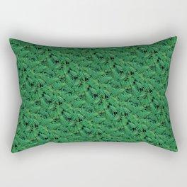 Deep Green Nostalgic Fern Grid Pattern Rectangular Pillow