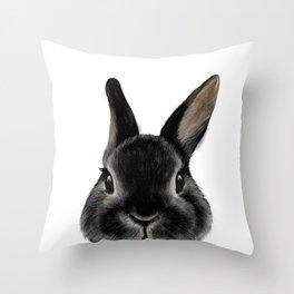 Netherland Dwarf rabbit Black, illustration original painting print Throw Pillow