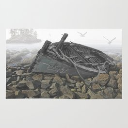 Boat Beached on a Rocky Shore in the Mist Rug