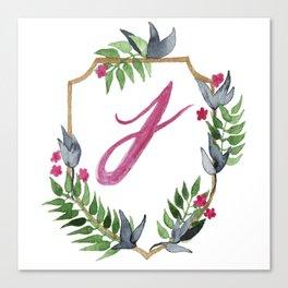 Jungle Gold Monogram Crest J Canvas Print