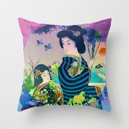 Japanese Geisha Throw Pillow