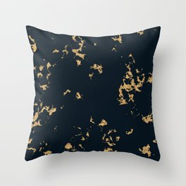 Black Marble with Gold Foil Throw Pillow